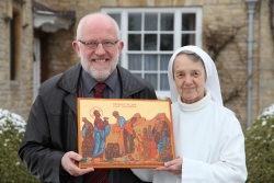 Frank Sudlow with Sr Esther from Turvey Abbey and her Icon of the Feeding of the five thousand
