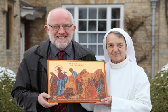 CAFOD Diocesan Manager, Frank Sudlow, with Sr Esther from Turvey Abbey and her Icon of the Feeding of the five thousand