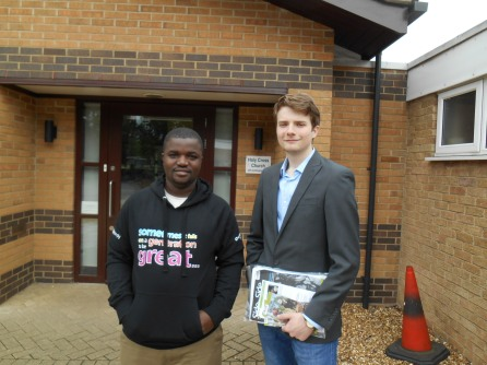 Jack with CAFOD's Sheku Mark from Sierra Leone