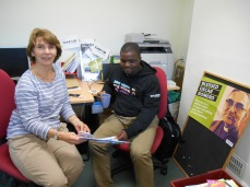 Sheku with office volunteer Liz