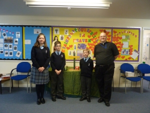 Fr Wayne with students from St Teresa