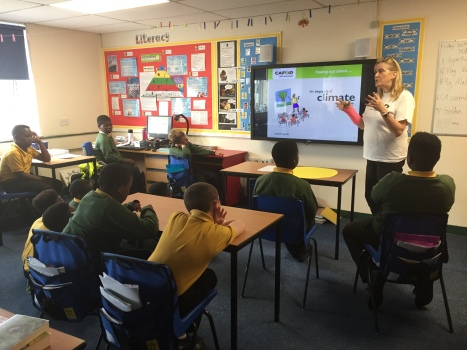 Cathy explaining the impact of climate change to year six pupils