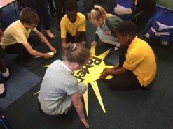 Year 4 constructing their Sun ray Display