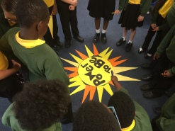 Yr 6 pupils reflecting on their sun ray messages to the World Bank about the importance of solar energy for those that don't have electricity