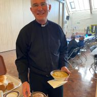 Fr Paul Inman supporting the Go Green CAFOD soup lunch